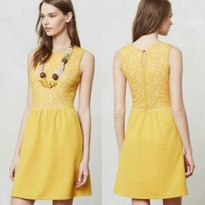 Anthro Maeve mustard yellow lace fit flare dress